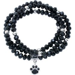 Florida Friends Jet Black Bead & Paw Print Bracelet Set