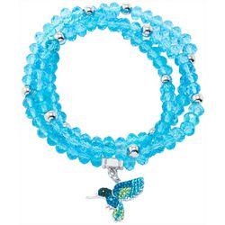 Florida Friends Hummingbird Charm Glass Bead Bracelet Set
