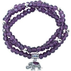 Florida Friends Purple Bead Elephant Beaded Bracelet Set
