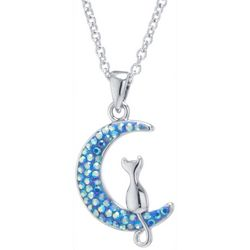 Florida Friends Aqua Blue Crystal Moon & Cat Necklace