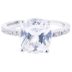 Ocean Treasures Silver Tone Rectangular Cubic Zirconia Ring