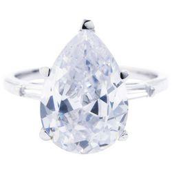 Ocean Treasures Silver Tone Pear Shaped Cubic Zirconia Ring