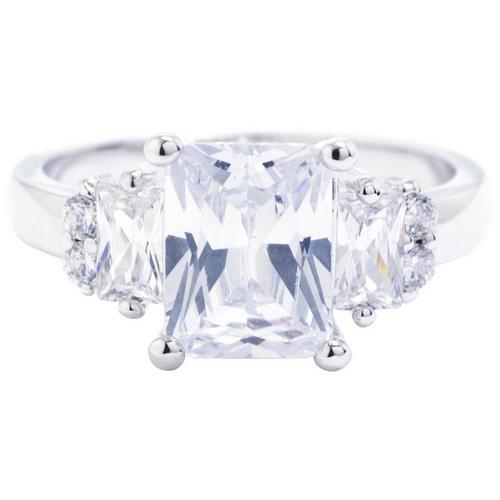 6050c3737c449 Ocean Treasures Silver Tone Radiant Emerald Cut CZ Ring