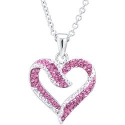 Florida Friends Pink Open Heart Pendant Necklace