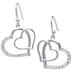 Florida Friends Clear Rhinestone Double Heart Drop Earrings