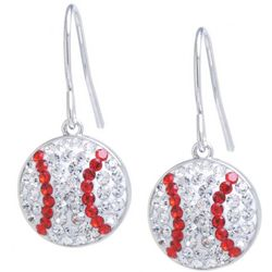 Florida Friends Pave Crystal Elements Baseball Drop Earrings
