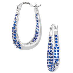 Blue Crystal In & Out Hoop Earrings