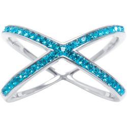 Ocean Treasures Aqua Rhinestone Crisscross Ring