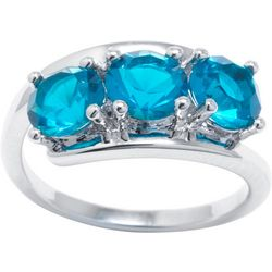 Ocean Treasures Blue Zircon Triple Stone Ring