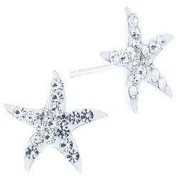 Sterling Earrings Pave Crystal Elements Starfish Earrings