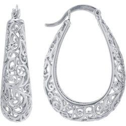 Starfish Box Hoops Silver Filigree Hoop Earrings