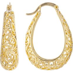 Starfish Box Hoops Gold Plated Filigree Earrings