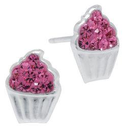 Sterling Earrings Pink Crystal Elements Cupcake Earrings
