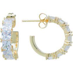 Starfish Box CZ Gold Plated C Hoop Earrings