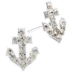 Sterling Earrings Crystal Elements Anchor Stud Earrings
