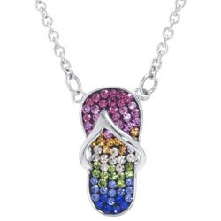 Florida Friends Crystal Flip Flop Pendant Necklace