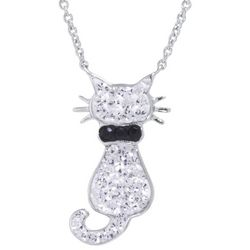 Florida Friends Crystal Cat Pendant Necklace