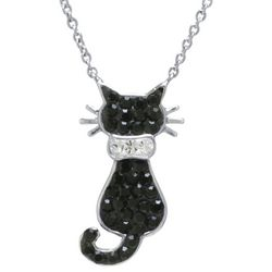 Florida Friends Crystal Black Cat Necklace