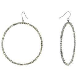 Piper & Taylor Large Rhinestone Fishhook Hoop Earrings