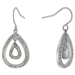 Piper & Taylor 45 mm Twisted Oval Silver Tone Hoop Earrings