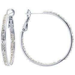 Piper & Taylor Sparkly Rhinestone 35 mm Hoop Earrings