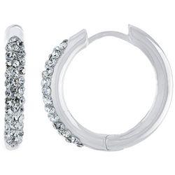 Piper & Taylor Rhinestone Accented Huggie Earrings