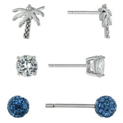 Piper & Taylor 3-Pc. Cubic Zirconia & Palm Stud Earrings