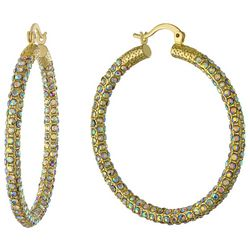 Piper & Taylor Thick 35 mm Rhinestone Covered Hoop Earrings