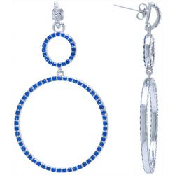 Beach Chic Blue Crystal Double Ring Earrings