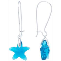 Beach Chic Aqua Glass Starfish Drop Earrings