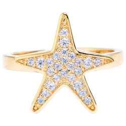 Ocean Treasures Gold Tone Rhinestone Starfish Fashion Ring
