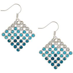 Lily Maris Aqua Blue Ombre Mesh Dangle Earrings