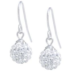 Piper & Taylor Silver Tone Crystal Elements Ball Earrings