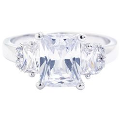Ocean Treasures Silver Tone Radiant Emerald Cut CZ Ring