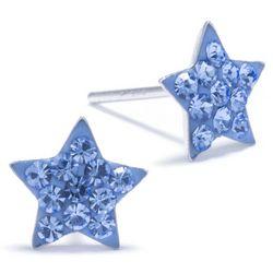 Sterling Earrings Pave Crystal Elements Blue Star Earrings