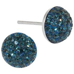 Sterling Earrings Pave Dark Blue Stud Earrings