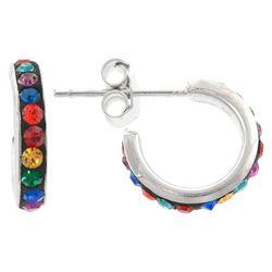 Sterling Earrings Colorful Crystal Elements Hoop Earrings
