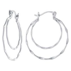 Sea Life Box 25mm Double Row Hoop Silver Tone Earrings