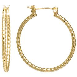 Starfish Box 24K Gold Plated Textured Hoop Earrings