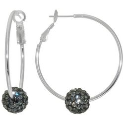 Lily Maris Grey Pave Rhinestone Ball Hoop Earrings