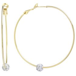 Lily Maris 50mm Gold Tone Pave Rhinestone Ball Hoop Earrings
