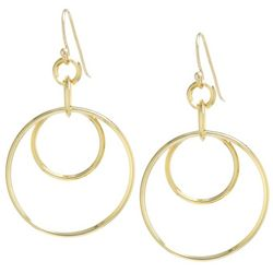 Lily Maris Gold Tone Double Hoop Fishhook Earrings