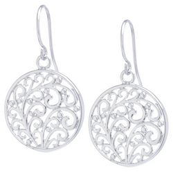 Lily Maris Silver Tone Filigree Swirl Disc Earrings