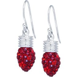 Florida Friends Red Crystal Elements Holiday Bulb Earrings