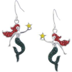Florida Friends Holiday Crystal Elements Mermaid Earrings