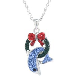 Florida Friends Holiday Dolphin & Wreath Pendant Necklace
