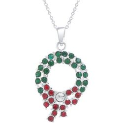 Florida Friends Crystal Elements Holiday Wreath Necklace