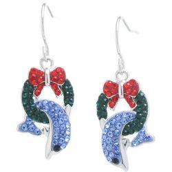 Florida Friends Holiday Dolphin & Wreath Earrings