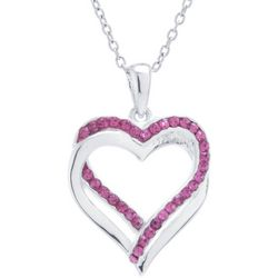 Florida Friends Rose Pink Double Heart Pendant Necklace