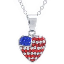 Florida Friends Patriotic Heart Pendant Necklace